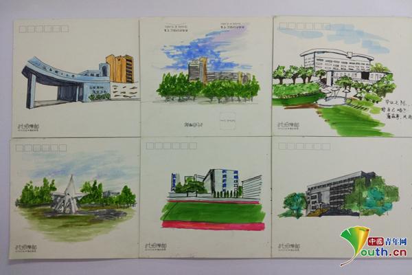 """高校毕业季:江西理工""""秀""""手绘校园明信片"""