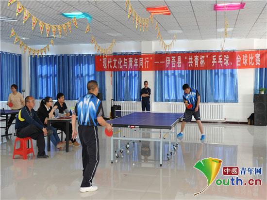 """伊吾县""""共青杯""""乒乓球,台球比赛分别于振兴社区和地税局活动室火热图片"""