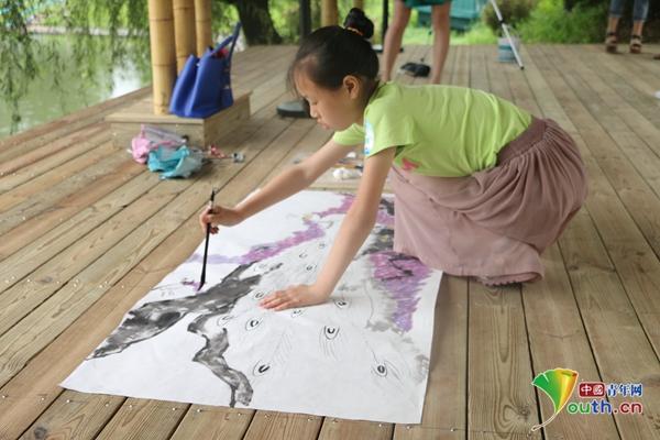 彩铅手绘竹子毛笔